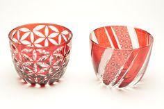 edokiriko Japanese traditional glass art made by Hanashyo sake glass 江戸切子 華硝 酒器