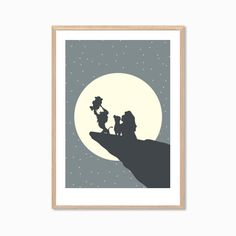 DISNEY | Simba and / or Family Poster : Lion King Modern Nursery Illustration Retro Art Wall Decor Print