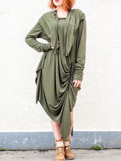 #StyleWe Shop TEYXO Tops - Green Viscose Long Sleeve Tunic online. Discover unique designers fashion at AdoreWe.net.