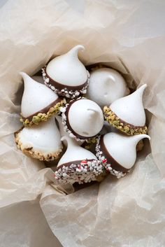 Ghirardelli Chocolate Dipped Holiday Meringue Kisses | Now, Forager | Teresa Floyd
