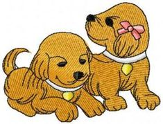 two puppies free embroidery design