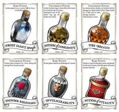 Potion Cards for 5e — Dungeon Master's Guide potions — CryptoCartographer