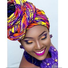 Ankara Xclusive: Inspired Ankara Make Up Styles 2018 African Makeup, African American Makeup, African Beauty, African Fashion, African Head Wraps, Afro Style, Makeup Services, Wedding Makeup Artist, Scarf Hairstyles