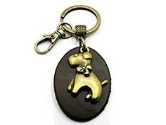Amazon.com: BrownBeans, Homemade Unisex Cute Puppy Dog Leather Keychain Key Chain Keyring Fob Holder with Small Clip (BBKC2005) (Brown - Brass Tone): Automotive