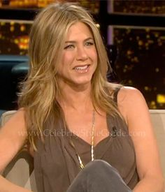 Seen on Celebrity Style Guide: Jennifer Aniston wore the Helmut Lang Threadbare T Graphite Top on Chelsea Lately for an interview about her new movie �Wanderlust' February 22, 2012