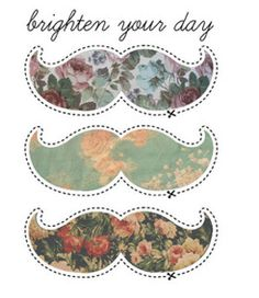 flower print moustache cut outs