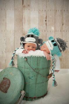 109663abcbb Twin Newborn Sock Monkey Hat Set