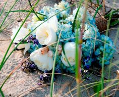Coastal hygrangea and garden rose bridal bouquet...