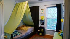 tent canopy: hang branch from hook loops and hang fabric from branch
