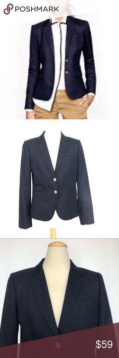 "J. Crew Schoolboy  navy blazer 2 J. Crew Schoolboy blazer Size 2 Chest 35"" Length 23.5"" Golden buttons Wool Fully lined Navy J. Crew Jackets & Coats Blazers"