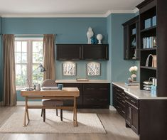 Homework or work-at-home. Either way, you'll find plenty of space to get it done using our office cabinets. With cabinetry and accessories to hold electronics and manage filing, we do our best to keep you on task. Add a pretty desk to change up the scenery, and you won't believe your good luck that this room means business!