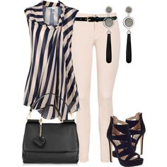 Beautiful spring outfit for work! Not sure I can rock the cream pants, nor that high of a heel for work. But love the striped, flowy top with the neat neckline.