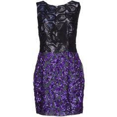 Vera Wang Short Dress (895 CAD) ❤ liked on Polyvore featuring dresses, purple, sequin cocktail dresses, short lace cocktail dress, short dresses, sequin mini dress and purple lace cocktail dress
