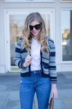 How to style a crop sweater jacket