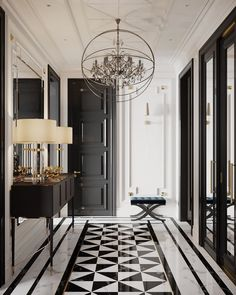 marble flooring And what is not to love about this gorgeous hallway From the geometrical design of the bamp;w marble floor, to the - Web 2020 Best Site Home Design, Floor Design, Home Interior Design, Interior Decorating, Marble Design Floor, Interior Livingroom, Apartment Interior, Ceiling Design, Interior Styling