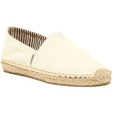 Joy & Mario Huntington Beach Slip-On Espadrille Flat ($30) ❤ liked on Polyvore featuring shoes, flats, beige, round toe flats, woven slip on shoes, beige shoes, flat shoes and slip-on shoes