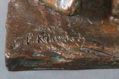 """FRITZ KLIMSCH (1870-1960) Figürliche Bronze  """"Stehender weiblicher Akt"""" (mit hinter dem Kopf versch"""