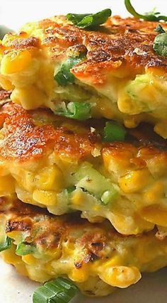 Mexican Corn Cakes with Jalapeno & Lime (Southern recipe) ~ Golden-brown, light . - Mexican Corn Cakes with Jalapeno & Lime (Southern recipe) ~ Golden-brown, light and fluffy. Mexican Corn Cakes, Mexican Dishes, Mexican Food Recipes, Vegetarian Recipes, Ethnic Recipes, Mexican Appetizers, Mexican Cheese, Mexican Chicken, Mexican Corn Side Dish