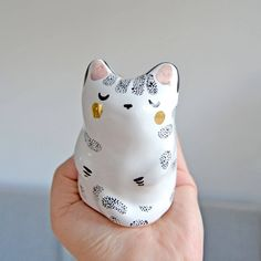 Unique Cat Lover Gift Idea, Animal Totem, Ceramic Miniature Cat Gold Decorated by MrsBiscuitArt on Etsy https://www.etsy.com/listing/573385078/unique-cat-lover-gift-idea-animal-totem