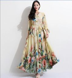 Bohemian Beige Floral Print Long Sleeve A-line Dress Full Pleated Skirt Beach Wedding Bridesmaid Holiday Prom Ball Gown Party Event New Year on Etsy, $216.56