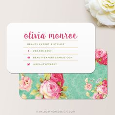 Vintage Floral Business Card / Calling Card / by MalloryHopeDesign