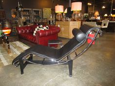 LC4 Chaise Lounge in Black Leather, Design Within Reach — Sarah Cyrus Home