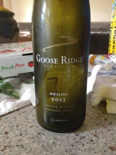 +2013 Goose Ridge Riesling - Columbia Valley - Golden straw yellow in color. Tropical fruits on the nose. Off-dry, medium+ body, tropical fruits, peaches, and apricots on the palate. Well balanced fruit and alcohol. A lovely summer wine. BP: Buy