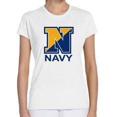 Officially Licensed U.S. Navy Ladies White T-Shirt now available! Show your Navy Service pride with this ladies white t-shirt Performance Short Sleeve Shirt. This performance shirt features 100% Polyester antimicrobial, moisture wicking fabric that will keep you cool, dry, and comfortable. THIS IS A PERFORMANCE FABRIC SHIRT, NOT COTTON. Designed, Printed & Sublimated in the USA -Fabric Imported.