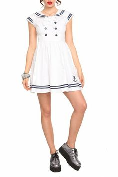 04dc97ef86ad Hell Bunny White Sailor Dress Size : Medium at Amazon Women's Clothing  store: