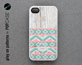 iphone 4 Case - iphone 4s case - plastic or silicone rubber - geometric Aztec pattern on wood. $14.95, via Etsy.