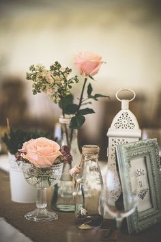 peach and pink table wedding centrepiec