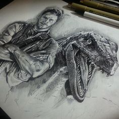 Pen drawing I made of Owen & Blue from Jurassic World - Imgur