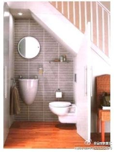WC under stairs.   Take advantage of the empty space this would be so cool in the basement.