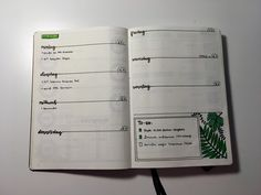weekly log, to do list, green theme Green Theme, Bullet Journal, Lettering, Thursday, Drawing Letters, Brush Lettering