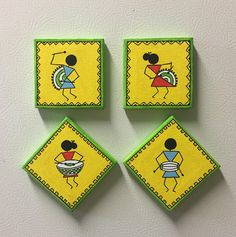 Simple canvas art for kids acrylic paintings 17 Super Ideas Easy Canvas Art, Mini Canvas Art, Abstract Canvas, Madhubani Art, Madhubani Painting, Krishna Painting, Worli Painting, Fabric Painting, Acrylic Paintings