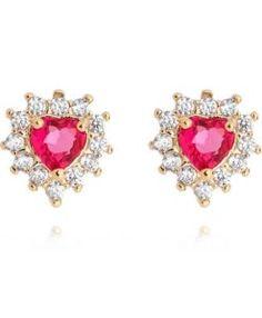 2d55c94f8 brinco de coracao vermelho pequeno semijoia Heart Ring, Heart Earrings,  Gold Earrings, Big