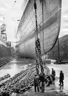 [JANUARY 1966]: TS 'Queen Mary' in dry dock, Southampton, 6 January 1966.