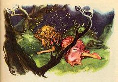 Ганс Христиан Андерсен - Дикие лебеди (иллюстрация Либико Марайа)Недолго пробыла она в лесу, как уже настала ночь, и Элиза совсем сбилась с дороги; тогда она улеглась на мягкий мох, прочла молитву на сон грядущий и склонила голову на пень.