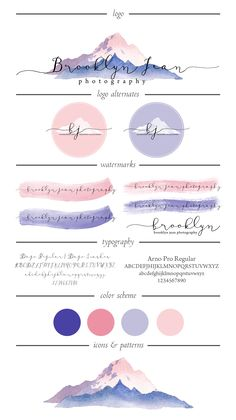 Brooklyn Jean Photography | Logo Design by Jenna Schwartz, 2015. Logo, alternate logo and watermark designs for rebranding of Brooklyn's portrait photography business. A lovely watercolor mountain design with purple and pink hues reminiscent of a gorgeous light sunrise.