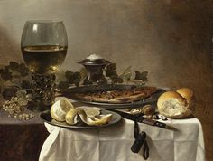 Still Life with Herring, Wine and Bread, 1647, by Pieter Claesz. This painting documents a beautiful roemer filled with white wine in the hollow stem and cup, note the raspberry prunts on the stem