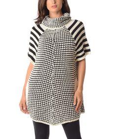 White & Black Monochrome Cowl Neck Sweater - Plus by Diva Designs #zulily #zulilyfinds