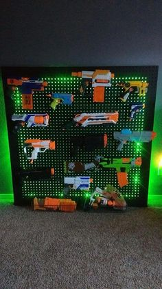 Nerf storage solution created by mom & dad You are in the right place about Nerf Gun Storage box Her Boys Bedroom Storage, Kids Bedroom, Wall Storage, Bedroom Ideas, Kids Storage, Arma Nerf, Pistola Nerf, Nerf Gun Storage, Nerf Party