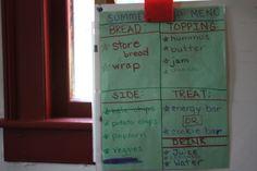 Lunch menu for kids ~ Handwriting.