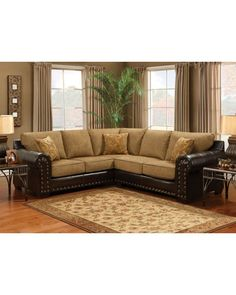 erica 6piece top grain leather modular sectional brown furniture pinterest cabin furniture basements and cabin
