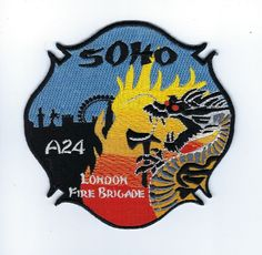 "4.5/"" x 4.5/"" size England fire patch London  A24 Fire Brigade  /""SOHO/"""