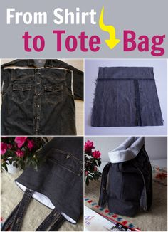 How To Upcycle Denim - Denim Tote Bag Tutorial. This is a frugal DIY idea for upcycling jeans clothes into useful bags.