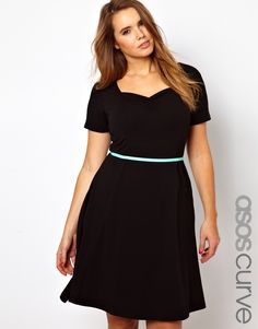ASOS Curve | ASOS CURVE Exclusive Skater Dress With Sweetheart Neckline And Short Sleeve at ASOS