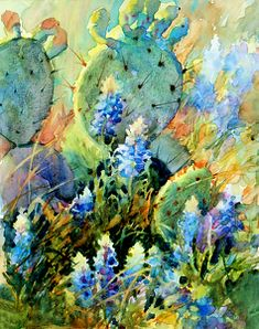 Watercolor painting-Texas Bluebonnets among the prickly pear cactus--16 x 20-- BLUEBONNETS IN CACTUS by Mary Shepard. www.maryshepard.com