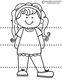 Head shoulders knees and toes girl clipart