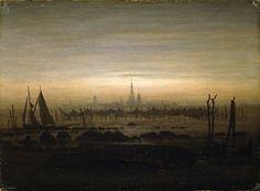 Not steampunk, but it fits somehow. Caspar David Friedrich, Greifswald in Moonlight, c. 1817.